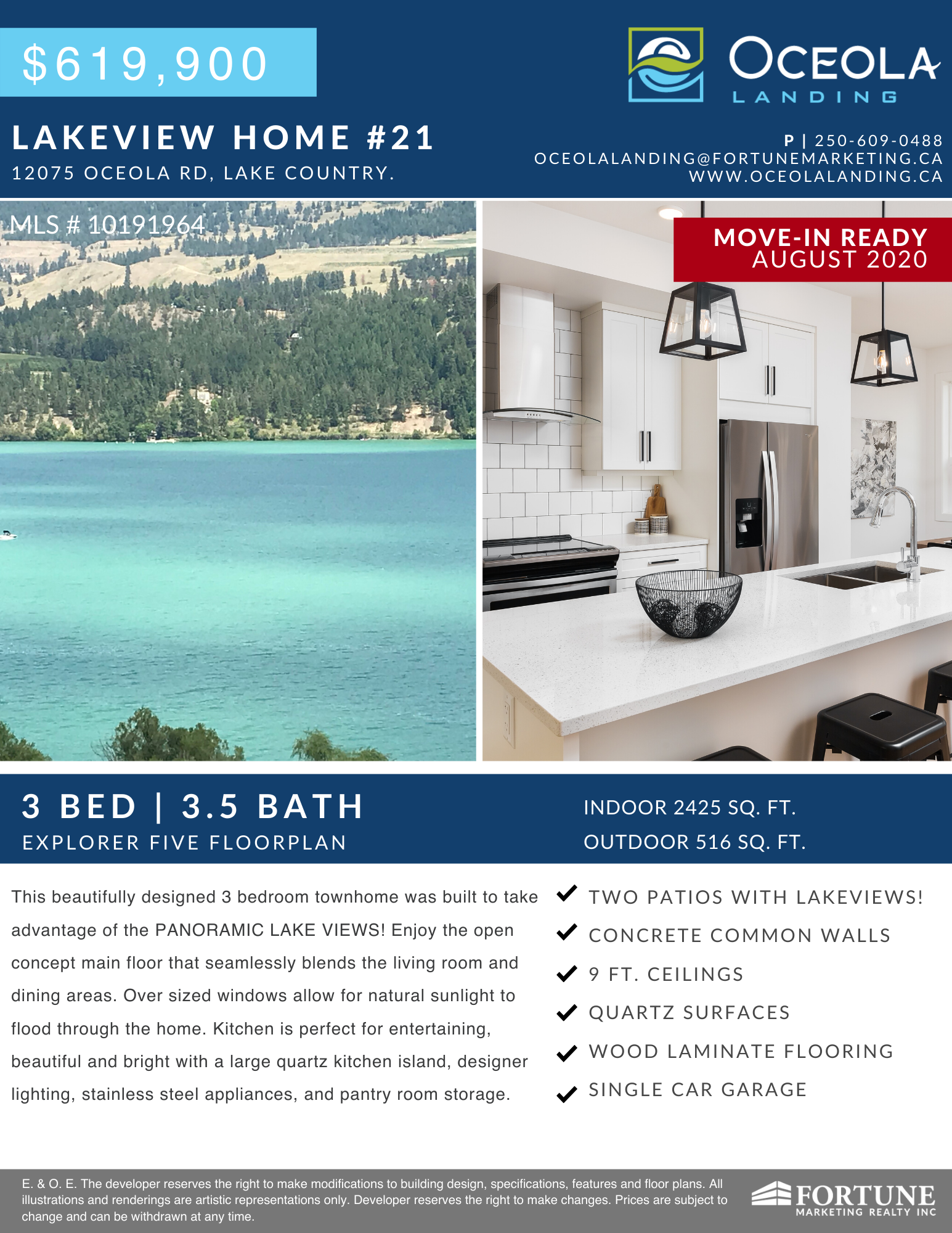 Now Selling Lakeview 3 Bedroom Townhomes in Lake Country, BC.
